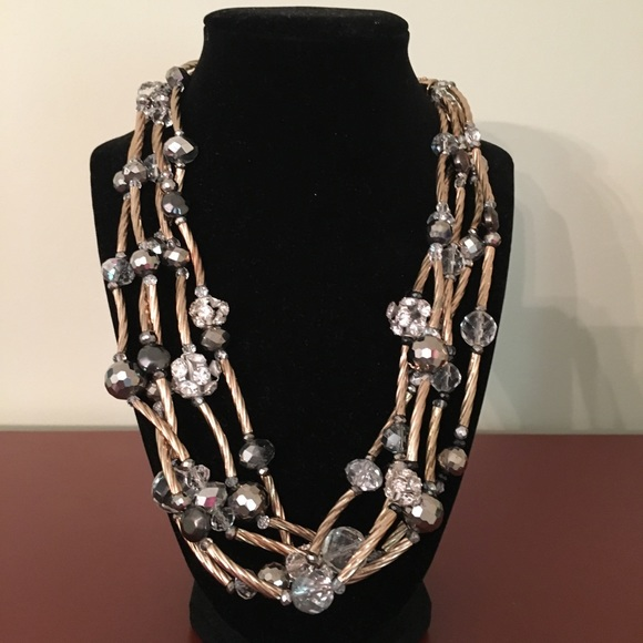 Chicos Sparkly Multi-Strand Beaded Necklace